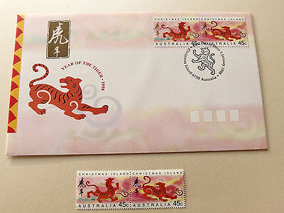 1998 Christmas Island - Year of The Tiger 2 x 45c  MNH + FDC