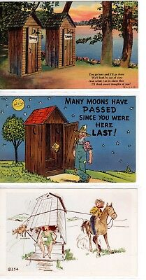 Comic, Outhouses-Humorous Five Different Vintage Postcards