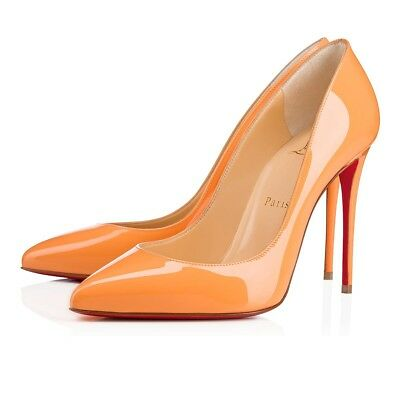 c2ab0f106b1f NIB Christian Louboutin Pigalle Follies 100 Orange Sunset Patent Heel Pump  38