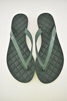 f21d3b7a8776a NIB Chanel Green Quilted Suede Leather CC Sport Beach Thong Sandal Flip  Flop 36