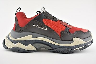 BALENCIAGA TRIPLE S Mens Split Grey Black Red Speed Flat