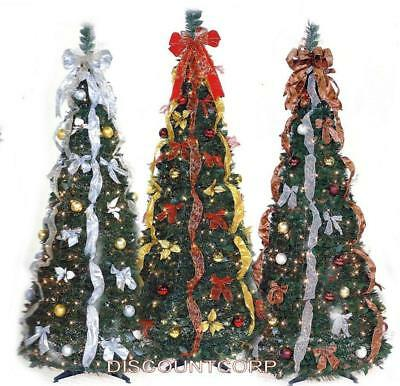 6 Ft Pop Up Decorated Pre Lit Collapsible Christmas Tree 350 Lights Open