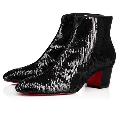 dc7bc0d92914 NIB Christian Louboutin Disco 70s 55 Black Gold Sequin Heel Ankle Bootie  Boot 41