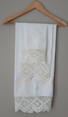 Bathroom Towels Decor Linen Cotton Crochet Embroidered 3 PC Made In Portugal NEW