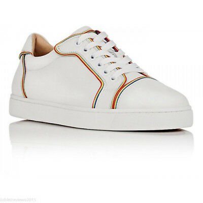 new style 93b8d 41f47 NB CHRISTIAN LOUBOUTIN Vieira Flat White Multicolor Lace Up Low Top Sneaker  39.5