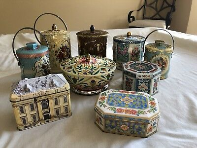 A Lot of 9 Collectible Vintage Tin Containers, all Made In England