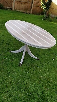 French Annie Sloan Style Chic Oval Table, seats 4-6, folds up vertically.