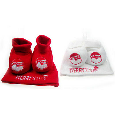 Christmas Set Baby Birth Cotton Cap And Slippers Santa Claus Red Or White