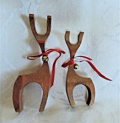 Christmas decorations Danish modern hand carved wooden Reindeer deer ornaments