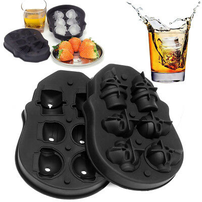 3D Skull Shape Ice Cube Mold Maker Silicone Trays Chocolate Mould for Bar Party