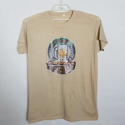 Vintage 70's glitter iron on graphic t-shirt member beer drinkers hall of fame