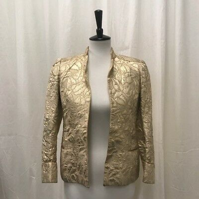 Vintage Ted Lapidus Gold Lame Brocade Jacket Women's Small