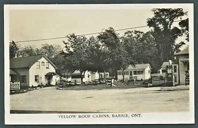 1930's RPPC Postcard YELLOW ROOF CABINS Barrie Ontario WHITE ROSE GASOLINE PUMP
