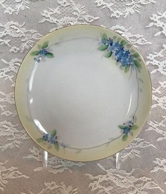 """Antique Nippon Hand Painted Forget-Me-Not Plate, 6 1/2"""""""