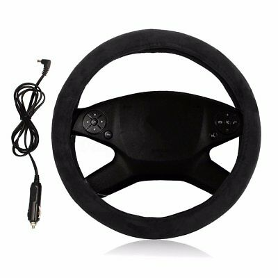 "Black 14"" Warm Heatin Fabric Steering Wheel Cover Protector Lighter Plug Powered"