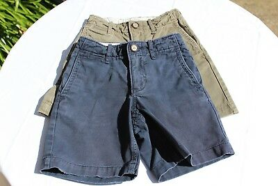 Two Pairs of Used Gap Kids Cotton Shorts, 4 Years, Blue & Khaki
