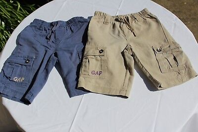 Two Pairs of Used Baby Gap Linen Shorts, 3 Years, Blue & Beige