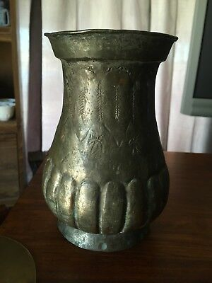 Antique Persian Middle Eastern Egyptian Etched Tinned Copper Vase Marked EGYPT