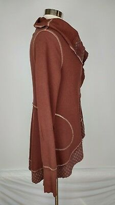 Scrapbook Womens M Cardigan sweater Pockets Waterfall Front High Low Brown