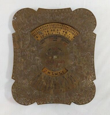 Vintage 1954 to 2043 Brass Perpetual 100 Years CALENDAR square