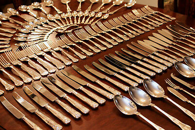 A Magnificent Extensive Antique Silverplated Kings Pattern Cutlery Collection