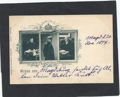GERMANY: 1897l 3 VIEWS OF KAISER WILHELM II: POSTED IN GERMANY: MAILED PRAGUE