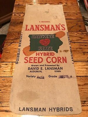 Lansman's Hawkeye State Hybrid Seed Corn Sack Audubon Iowa Bag Feed Cloth