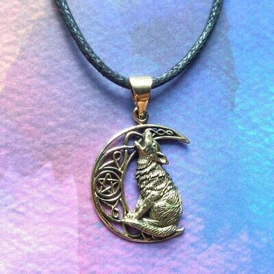 New Bronze Howling Wolf Moon Pendant Cord Necklace in Gift Pouch Lisa Parker