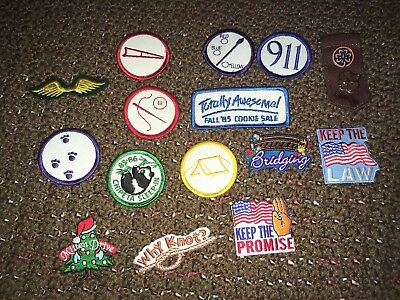 Vintage Lot of 15 Girl Scout Brownies Patches And Pins Badges 1986 Colorado GUC