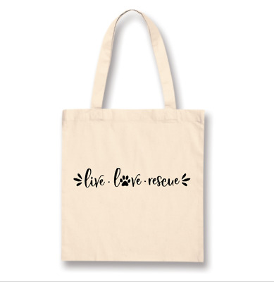 Live Love Rescue Tote Bag Dog Cat Pet Puppy Shopping Gift Save Animal Large