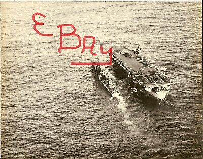 Ww Iius Navy Huge 8X10 Photo Of The U.s.s. Chenango Cve-28 Aerial Oiler At Sea