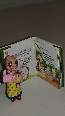 """miniature 1 1/2"""" hand made Mama Pig & baby doll with mini readable book LOOK!"""