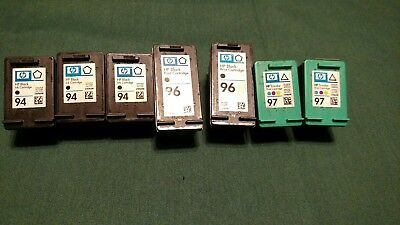7 Used Empty Authentic HP 94, 96, 97 Ink Cartridges