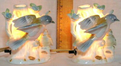 VINTAGE BONE CHINA PERFUME NIGHT LIGHTS - BIRDS in TREE by IRICE - MATCHED PAIR