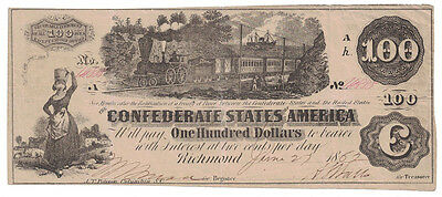 U.S. (Confederate) - June 27th, 1862 $100.00 Banknote