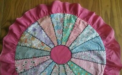 """COLORFUL VINTAGE 1930s PATCHWORK 16"""" ROUND PILLOW COVER OR SHAM ~ 2"""" PINK RUFFLE"""