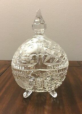 Vintage Crystal Covered Candy Dish Perfect Condition Floral Design