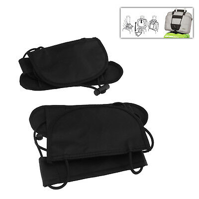 2 x Adjustable 55cm Luggage Suitcase Belt Bag Strap Carry On Bungee Travel Black