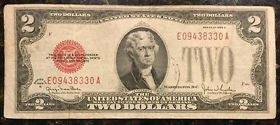 1928G $2 Dollar Us Note Legal Tender Paper Money Red Seal F485 (E09438330A)—Nice