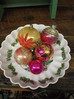 Vintage Christmas Tree  Ornaments Assorted Lot of 5 Glitter Glass Colored Bulbs