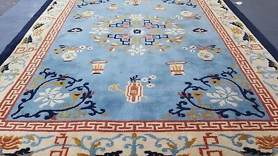 9' X 12' Decorative Indo Chinese Hand Knotted  Wool Rug ART DECO BLUE