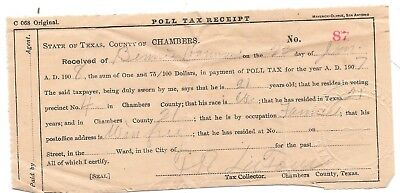 Antique 1908 Chambers County Texas Poll Tax Receipt