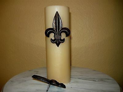 Two Cast Iron Fleur De Lis Candle Pins Old World Tuscan French