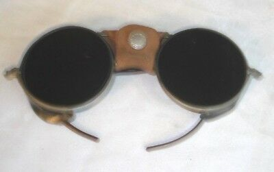 Vintage 1930s Green Glass GO 4.0 Leather Shield Safety Motorcycle Glasses