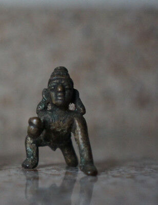 Antique Traditional Indian Ritual Brass God Krishna Crawling Tribal Rare 1.8 OZ