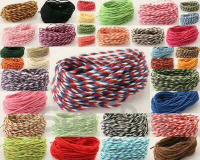 Twisted Colorful Cotton Rope Bakers Twine Cord Cards Wrapping DIY Crafts 5-50m