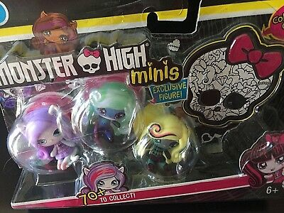 Mattel Monster High Minis Season 1 Exclusive Figure! Set of 3 Collectible Dolls