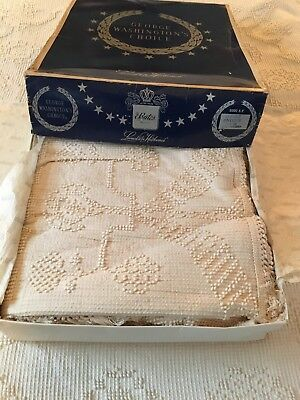 Vintage Bates George Washington's Choice Chenille Bedspread Double Antique White