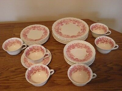 Vintage Wedgwood Bramble Etruria Pink 24 Piece Lunch Set