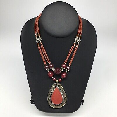 Turkmen Necklace Afghan Antique Tribal Fashion Multi Strand Beaded Necklace S128